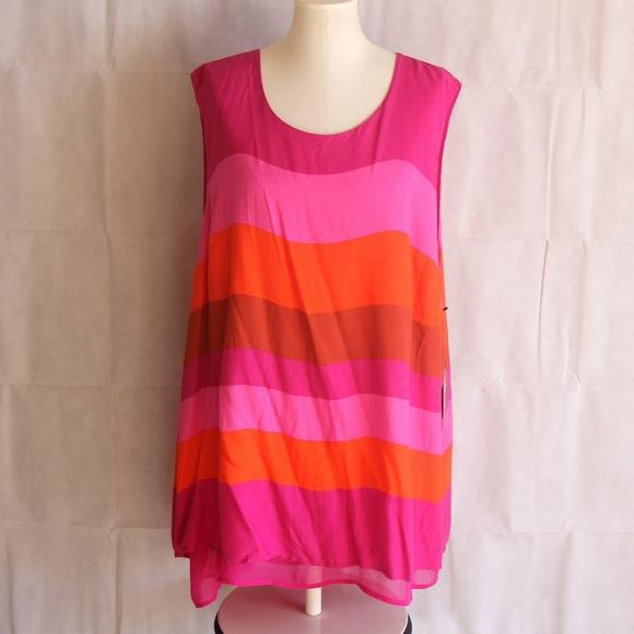 7f3f35d1f3 Plus 3X Sleeveless Pink Orange Tunic Tank Top